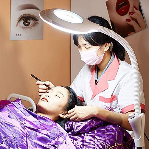 FACAIA Lupa 8X Cuello Flexible sin Sombra protección Suave para los Ojos Adecuada para uñas de Belleza Lámpara de pie de Belleza LED sin polea-regulable-20W