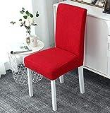 VYEKL Cubierta de la Silla de Color sólido Rojo Spandex Stretch Fundas elásticas para el Comedor Fundas para sillas Cocina Banquete Hotel 4 Piezas