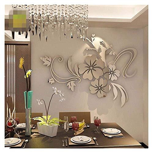 N / C Wandaufkleber, 3D Mirror Floral Art Abnehmbare Wandaufkleber Acryl Wandtattoo Home Room Decor Abnehmbare Wandaufkleber Wandtattoo Home Decor Sehr praktisch und beliebt