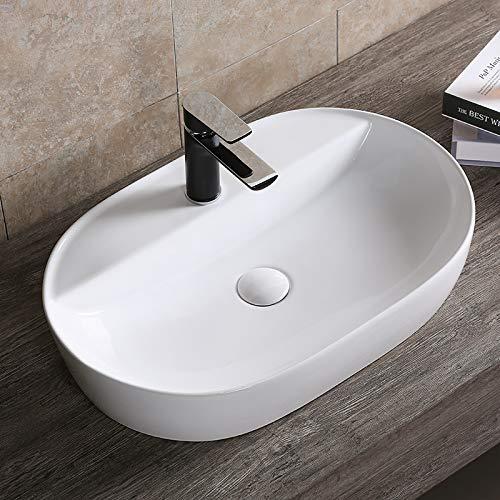 AUFSATZWASCHBECKEN WASCHTISCH WASCHBECKEN WASCHSCHALE HANDWASCHBECKEN WC OVAL RUND RECHTECKIG KERAMIK WEIß, Größe: Oval 61x40x12 (0074)
