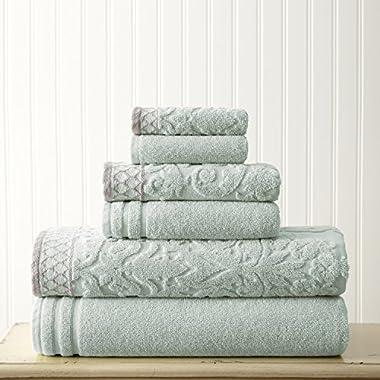 Amrapur Overseas 6-Piece Damask Jacquard/Solid Ultra Soft 550GSM 100% Combed Cotton Towel Set with Embellished Borders [Light Blue]