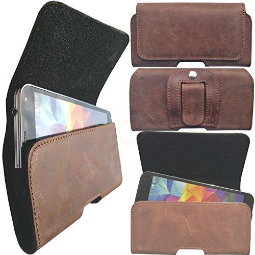 MOELECTRONIX 1A ECHT Leder Gürtel BRAUN Seiten Quer Tasche Belt Cover Hülle Schutz Hülle Etui passend für Doogee X6S