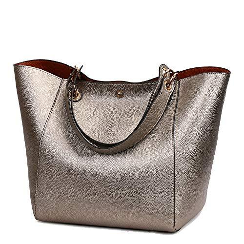 Coolives Damen 2 in 1 Shopper Schultertasche aus PU-Leder Vintage Taschen Hobo Handtasche Elegant Henkeltasche Eimer Tasche für Dame Bronze EINWEG
