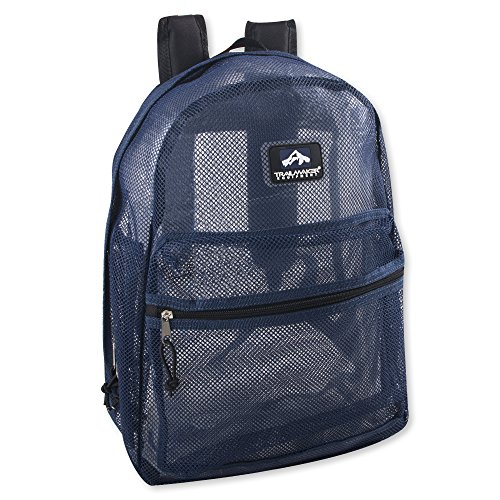 Trailmaker Transparent Mesh Backpack for School, Beach, and Travel, with Padded Shoulder Straps (Black)