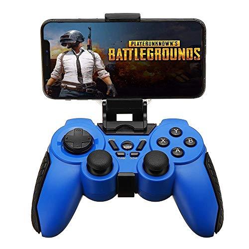 Manette de Jeu Wired Bluetooth Vibration Turbo Gamepad avec Phone Clip for Flat TV Et Téléphone Android Joystick (Color : Blue, Size : 19x14x8cm)