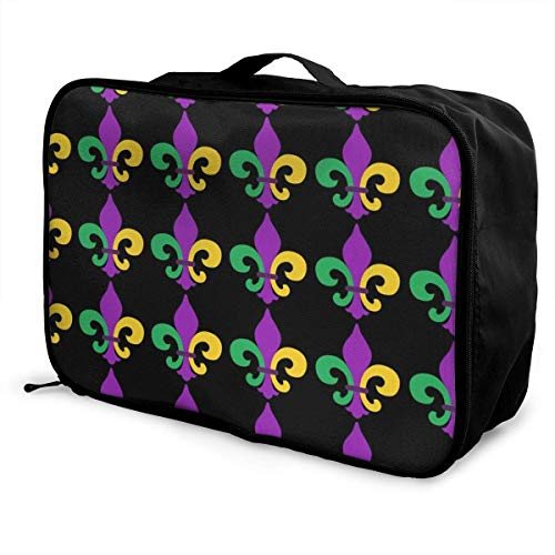 Koffertaschen Mardi Gras Fleur De Lis Travel Duffel Luggage Bag Waterproof Travel Duffel Tote Bag Overnight Bag