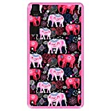 Hapdey silikon Hülle für [ Bq Aquaris E6 ] Design [ Helles Muster von rosa & roten schönen Elefanten ] Rosa Flexibles TPU