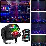 Drehbares Discokugel, RGB LED Party Licht mit Fernbedienung und USB Kabel, Sprachsteuertes Bühnenlicht, Discolicht mit mehreren Mustern für Partys Geburtstags Halloween Feiertags Weihnachts