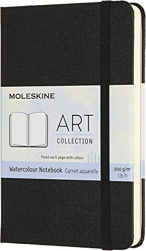 Moleskine Watercolor Notebook Taccuino per Acquerello, Carta per Acquerelli e Matite Acquerellabili, Copertina Rigida, Chiusura ad Elastico, Formato Pocket 9 x 14 cm, Colore Nero, 60 Pagine
