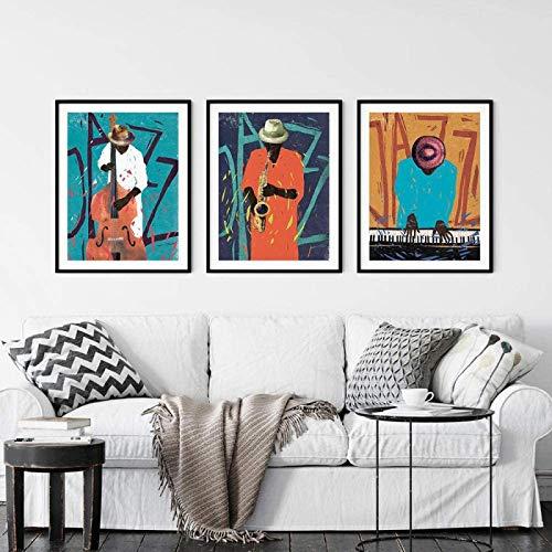 HHLSS Hermosa Imagen 3x50x70cm sin Marco Graffiti Abstracto Música Posters Modern Jazz Prints Regalo para músicos Cuadros de Pared para decoración de Sala de Estar