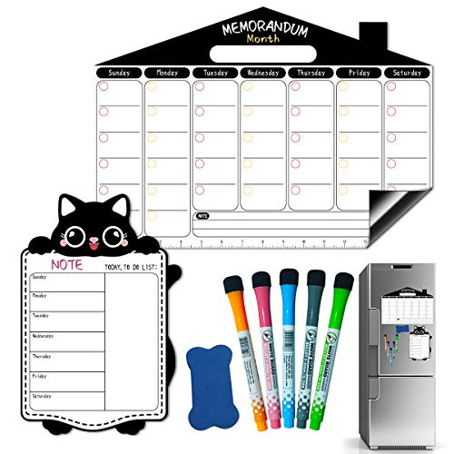 Magnetic Calendar for Refrigerator,Magnetic White Board,Magnetic Dry Erase Board,Small Dry Erase Board Includes Fridge Calendar & Week Schedule & 5 Markers and 1 Eraser