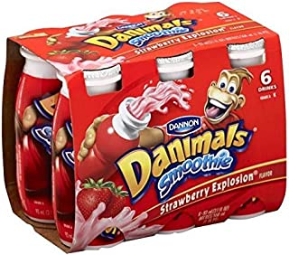 DANNON DANIMALS SMOOTHIES STRAWBERRY 3.1 OZ BOTTLES 6 CT PACK OF 3