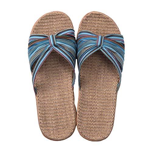 YQHLHT Zapatillas para Mujer, Zapatillas de Lino Zapatillas de la Casa de Los Pies Abiertos, Sandalias de de Verano, Ligero Transpirable, Ropa de Cama Zapatos de Interior Silencios