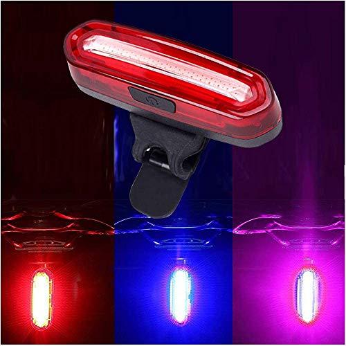 HASAGEI Luces Traseras LED Bicicleta Luz Trasera para Bicicleta USB Recargable Super Brillante Rojo Azul Rosa 6 Modos