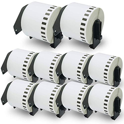 "BETCKEY - Compatible DK-2205 Continuous Length 2-3/7"" x 100'(62mm x 30.48m) Replacement Labels,Compatible with Brother QL Label Printers [10 Rolls with Refillable Cartridge Frame]"