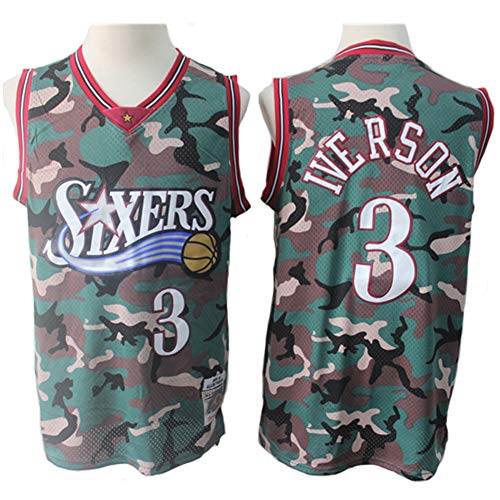 Philadelphia 76ers Iverson # 3, Classic Camouflage Retro-Sport-T-Shirts mit besticktem Netz, Unisex-Fan-Swingman-Trikot,L(180cm/75~85kg)