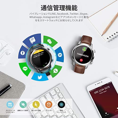 YIRSURスマートウォッチ腕時計メンズワイヤレス充電革バンドIP68防水着信通知アナログ文字盤あり多機能長時間バッテリー座りがち注意目覚まし時計日本語対応iphone&Android対応(ブラック)