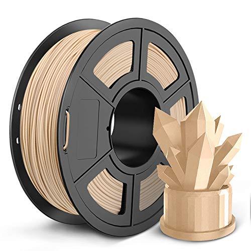 SUNLU Wood 3D Printer Filament 1.75mm PLA Filament 1kg/Spool for 3D Printing, Dimensional Accuracy +/- 0.02 mm, Real Wood Filament