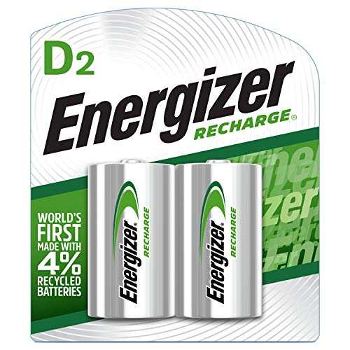 Energizer Rechargeable D Batteries, NiMH, 2500 mAh, 2 count (NH50BP-2)