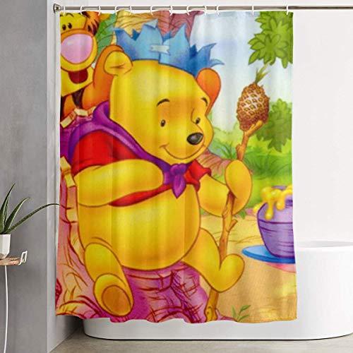 eneric Lustiger Stoff-Duschvorhang Winnie The Pooh mit Honig Wasserdichtes Badezimmer-Dekor mit Haken 60 x 72 Zoll