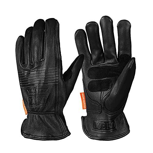 Guantes de piel para hombre, guantes deportivos cálidos para moto, motocross, carreras, enduro y bici MTB, M