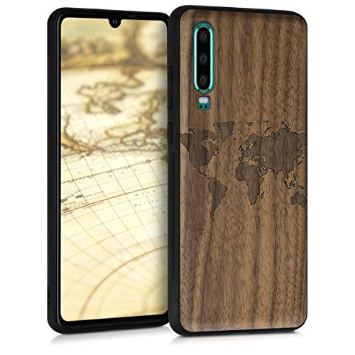 Preisvergleich Produktbild kwmobile Holz Schutzhülle für Huawei P30 - Hardcase Hülle mit TPU Bumper Walnussholz in Travel Umriss Design Dunkelbraun - Handy Case Cover