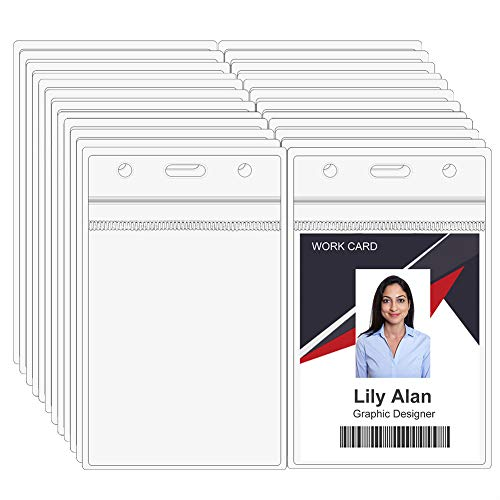 100PCS Vertical ID Badge Holders, Clear Plastic ID Card Holder with Waterproof Resealable Zipper, 1.0mm Extra Thickness, Fits RFID/Proximity/Badge Swipe Cards/Credit Card