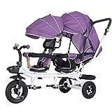FLYFO Bambini Triciclo,Ruote Vuote in Titanio Bicicletta Tandem Telaio in Acciaio Ad Alto Tenore di Carbonio Carrello Gemellato Triciclo per Bambini di 1-7 Anni,C