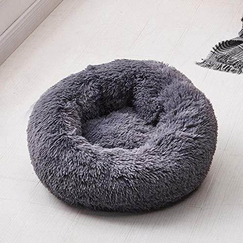 CHE Dog Bed Plush Round Donut Camas para Mascotas Kennel Cusion Puppy Mats Lounger House Sofá para Perros medianos Grandes Desmontable, Gris Oscuro, 70cm Funda extraíble