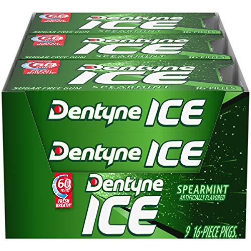 Dentyne Ice Sugar Free Gum (Spearmint 16 Piece Pack of 9)