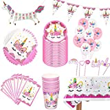ZCOINS Deco Anniversaire Licorne Vaisselle kit et Nappe,bannières, pennants,Sacs Cadeaux et Ballon Licorne