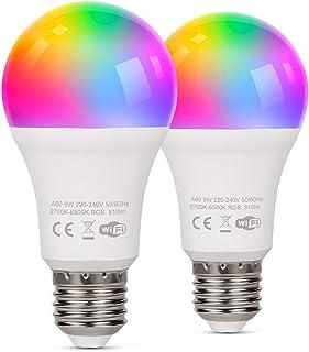TAOCOCO Bombilla LED inteligente WiFi con luz cálida Luz de color variable 2700k-6200k + RGB,Compatible con Alexa, Echo, G...