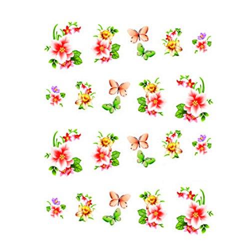 5Pcs Belle Motif Fleurs Nail Art Tips Sticker Décoration, BLE1715