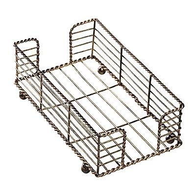 """Hoffmaster BSK2112 Wire Guest Towel Basket, 8.75"""" x 5"""" x 3"""", Bronze"""
