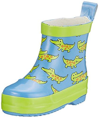 Playshoes Kinder Halbschaft-Gummistiefel aus Naturkautschuk, trendige Unisex Regenstiefel mit Reflektoren, mit Krokodil-Muster, Blau (blau), 19 EU