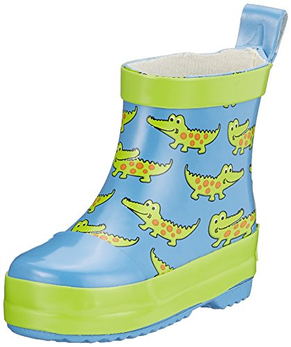 Playshoes Kinder Halbschaft-Gummistiefel aus Naturkautschuk, trendige Unisex Regenstiefel mit Reflektoren, mit Krokodil-Muster, Blau (blau), 22 EU