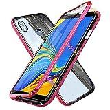 Kompatibel für Xiaomi Mi Mix 3 5G Hülle, Magnetische Metallrahmen 360 Grad Handyhülle Vorne & Hinten Gehärtetes Glas Handyhülle Stark Magnetic Hülle Panzerglas Doppelseitige Hülle, Rot