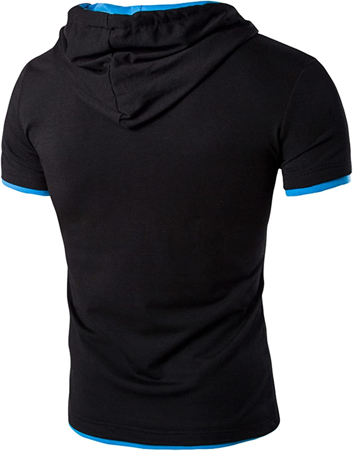 DZQUY Workout Shirts for Men Short Sleeve Summer Casual Muscle T-Shirt Hipster Bodybuilding Gym Hooded Fitted Shirts