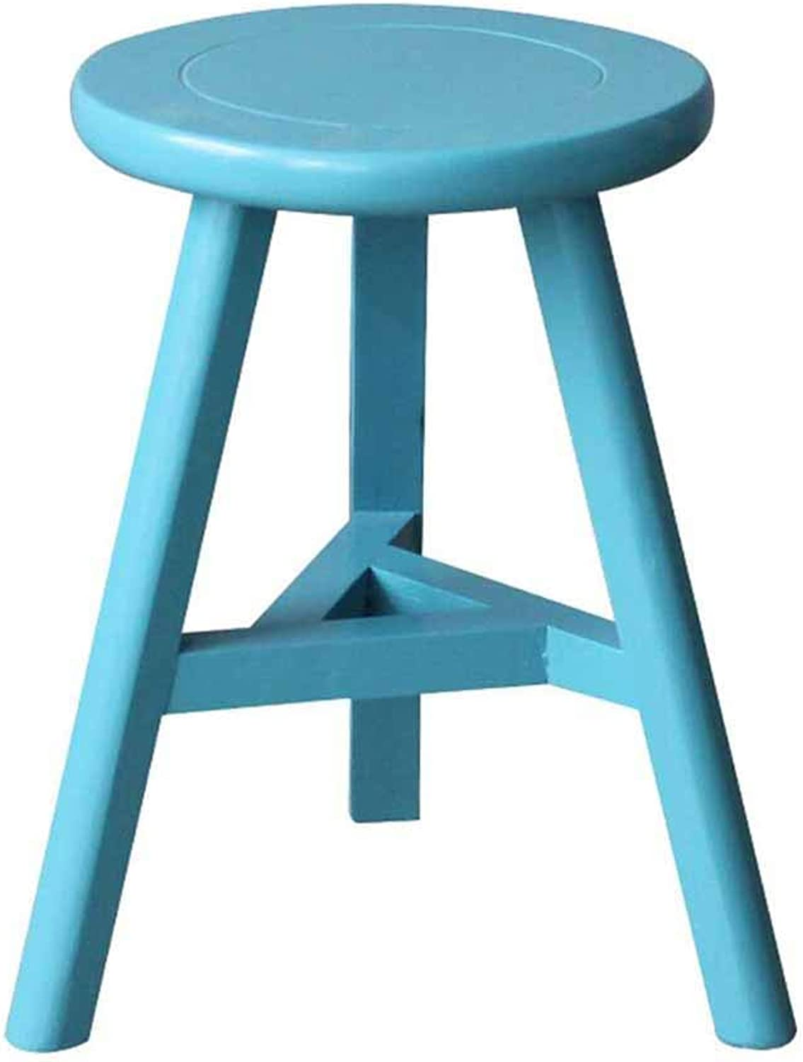 Solid Wood Stool Home Stool Low Stool Wood shoes Bench Simple Creative Dining Table Stool,bluee