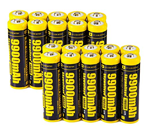 10 PCS of 18650-Rechargeable-Batteries,9900mAh 3.7V Li-ion,Button Top,65mmX18mm,With 2 PCS 2 Slots USB Universal Smart Battery Charger,For 18650 Flashlight headlight /& Electronic Tools