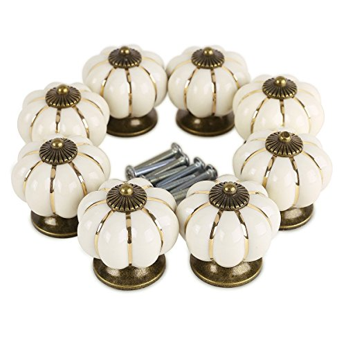 8 pomos redondos de cerámica con diseño de calabaza, estilo vintage, con tornillo, para armario, armario, armario, armario (marfil)