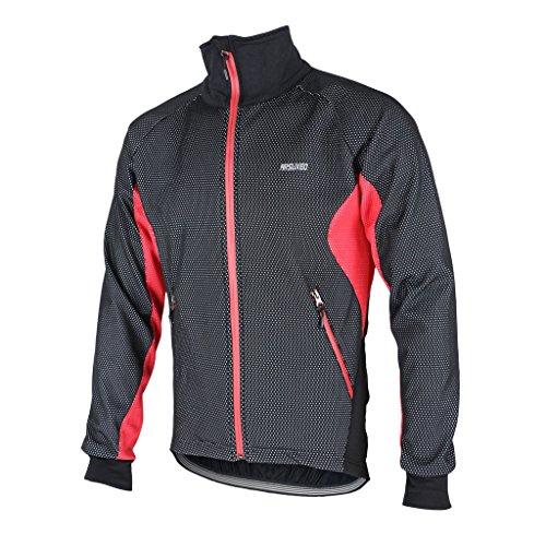 Tofern Herren Jungen Jacke Fleecejacke Fahrradjacke Fleece Winter Radsport Outdoor Winddicht Warm Grün/Rot/Blau, Rot S