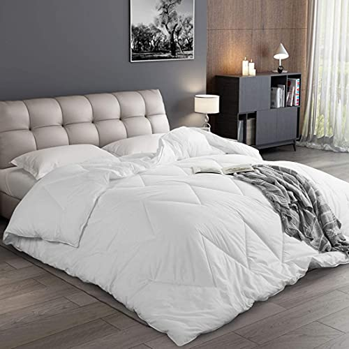 ABAKAN Luxury Down Alternative Comforter Queen Size 100% Cotton Soft Bedding Summer Comforter Lightweight Hotel Duvet Insert with Corner Tabs 88x88 inch White