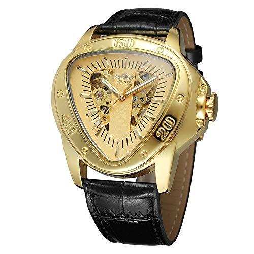 Zwbfu Ge Mode Sport Dreieck Zifferblatt Goldene Skelett Mysterious Uhr Männer Luxus Automatische Mechanische Armbanduhren
