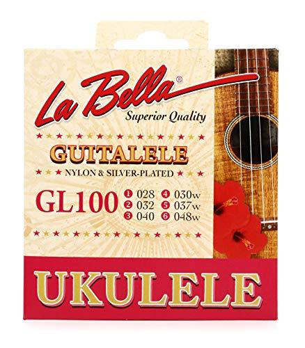 La Bella GL100 Guitalele Guilele Guitarlele - Juego de cuerdas de nailon