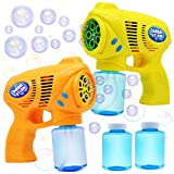 JOYIN 2 Colored Bubble Blasters Guns with 2 Bubble Solution (147 ml) for Kids, Indoor and Outdoor Play, Summer Themed Party and Birthday
