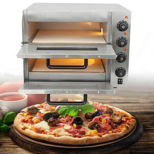 TryESeller Elektrisch Pizza Ofen 3000W Rostfreier Stahl Zwilling Deck Schamottestein Mehrzweck Ofen bis zu 350 ° C zum Restaurant Zuhause Pizza Brezeln Gebacken Geschirr