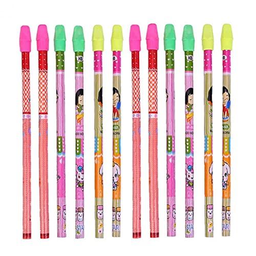 Arte de los lápices con goma de borrar 12pcs tapas de madera Patrón Entubado lápiz de la escuela de dibujos animados de lápiz de escritorio de los niños o de colores mezclados regalo de color, lápiz