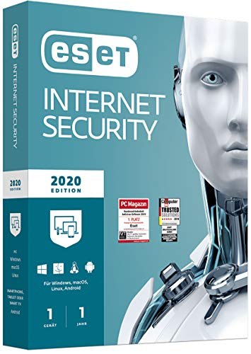 ESET Internet Security 2020 | Für 1 Gerät | 1 Jahr Virenschutz | Für Windows (10, 8, 7 und Vista) | Standardverpackung