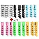 PPX 18 Stück Typ C Ladegerät Kabelschoner und 1 SIM Karte Nadel, Flexibler Silikon Micro USB Schutz, Maus Kabelschutz, Anzug für alle Handys 6 Farben Schwarz, Grau, Blau, Grün,Gelb,Rosa